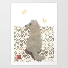 DOG, SEIGAIHA PATTERN Art Print