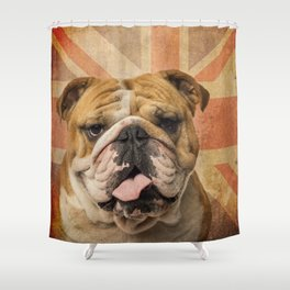 English Bulldog, Great Britain flag ! Shower Curtain