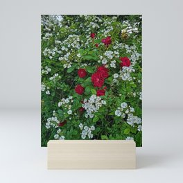 Wild Roses of New England floral pattern portrait painting Mini Art Print