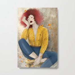 Counting Flowers on the Wall Metal Print