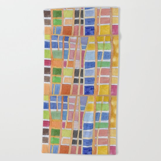Rectangle Pattern With Sticks Beach Towel