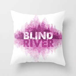 Blind River Trees (pink) Throw Pillow