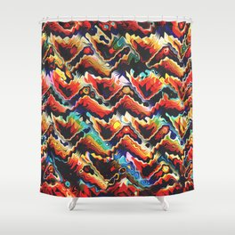 Colorful Geometric Motif Shower Curtain