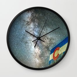 Colorado Living // Milky Way Galaxy Long Exposure Photograph Incredible Starry Night and State Flag Wall Clock