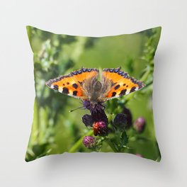 Little Tortoiseshell Buterfly Throw Pillow