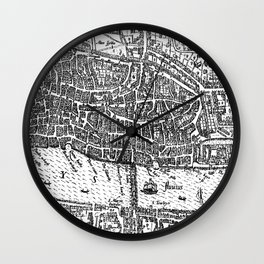 Vintage Map of London England (1593) Wall Clock