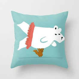 You Lift Me Up - Polar bear doing ballet Throw Pillow