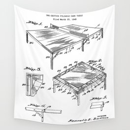 Table Tennis Patent - Tennis Art - Black And White Wall Tapestry