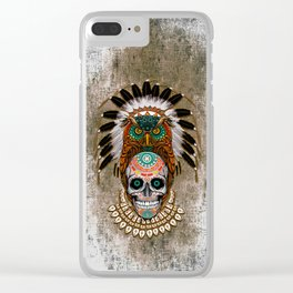 Indian Native Owl Sugar Skull Clear iPhone Case