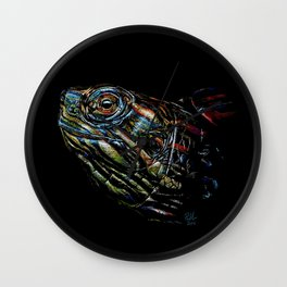 Rainbow Turtle Head Pastel Drawing - Just Popping Out Wall Clock