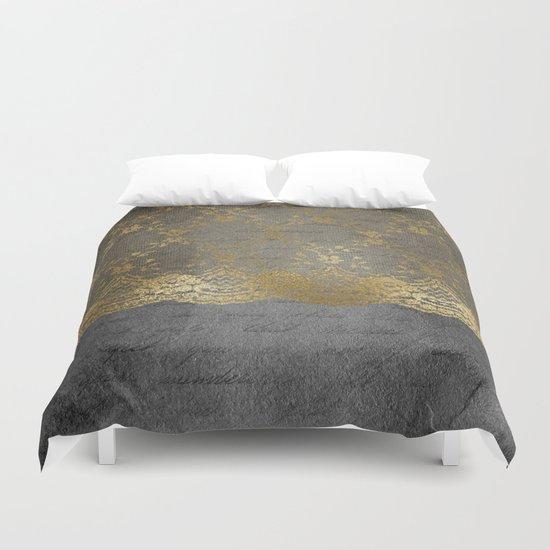 Pure elegance I- gold glitter luxury lace on black grunge background on #Society6 Duvet Cover