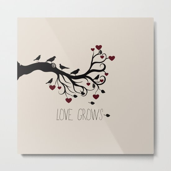 Love Bird Tree Metal Print