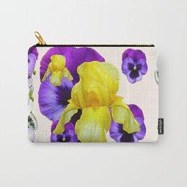WHITE PANSY & IRIS  GARDEN ART DESIGN Carry-All Pouch