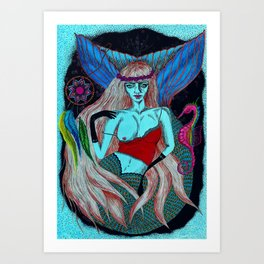 Hippy Marmeid Art Print