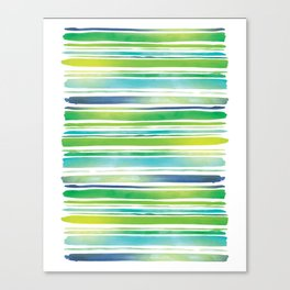 Watercolor Brush Stripes in Green and Blue Canvas Print