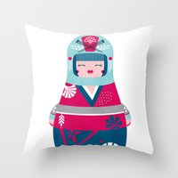 geisha Throw Pillows featuring Geisha by Piktorama