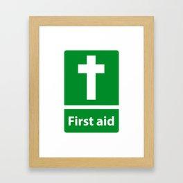 First Aid Cross - Christian Sign Illustration Framed Art Print