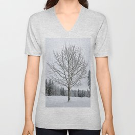 Lone Snow Covered Tree Unisex V-Neck