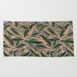 Calathea Leaves Pattern- Pink Green Gray Beach Towel