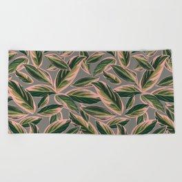 Calathea Leaves Pattern- Pink Green Gray Beach Towel
