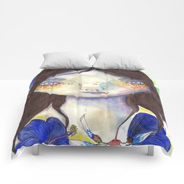 Girl and exotic blue flowers Comforters