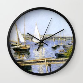 """Gustave Caillebotte """"Sailing Boats at Argenteuil"""" Wall Clock"""