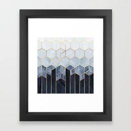 Soft Blue Hexagons Framed Art Print