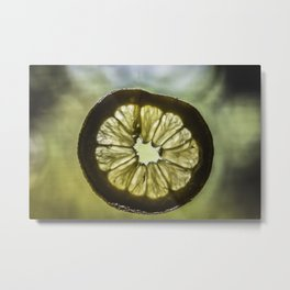Macro Lemon Metal Print