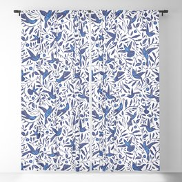 Delft Blue Humming Birds & Leaves Pattern Blackout Curtain