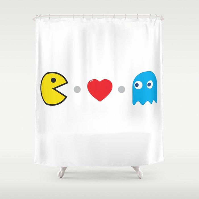 PAC MAN HEART Shower Curtain