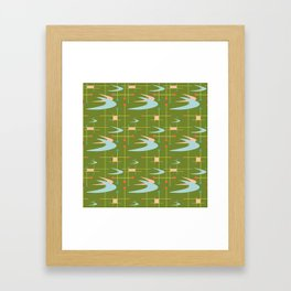 Mid Century Modern Boomerangs on Lime Green Framed Art Print