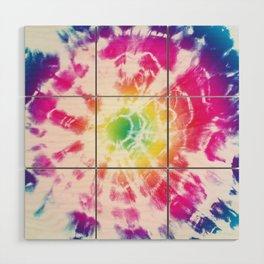 Tie-Dye Sunburst Rainbow Wood Wall Art