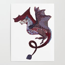 Dragon embroidery Poster