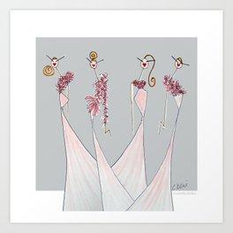 LOVELY LADIES IN PINK Art Print