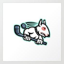 Bull Terrier Ice Hockey Mascot Art Print