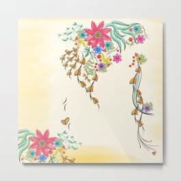 Vibrant Floral to Floral Metal Print