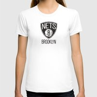 nba T-shirts featuring Brushed NBA Team Logos - Nets by Katadd