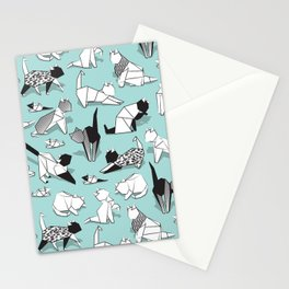 Origami kitten friends // aqua background paper cats Stationery Cards