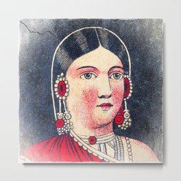 Vintage Matchbox Lady Metal Print