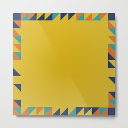 Geometric Square Border Pattern Metal Print
