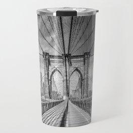 NEW YORK CITY Brooklyn Bridge | Monochrome Travel Mug