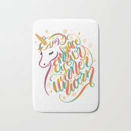 Embrace Your Inner Unicorn Hand Lettered Rainbow Design Bath Mat