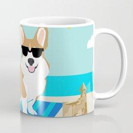 Corgi Summer Beach Day Sandcastles Dog Art Coffee Mug