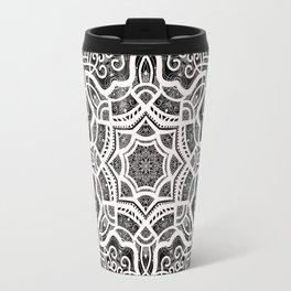 Mandala Project 209 | White Lace on Black Travel Mug