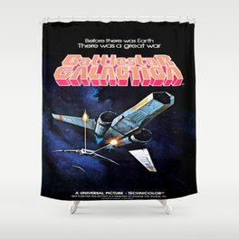 Vintage Battlestar Galactica Shower Curtain
