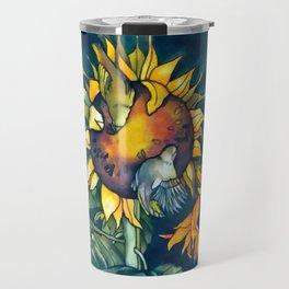 Sunflowers and birds Travel Mug