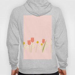 Pale Pink Light Orange Spring Flowers Hoody