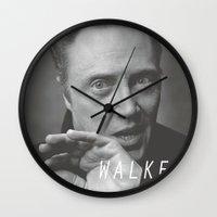 christopher walken Wall Clocks featuring Christopher... Walken by Earl of Grey