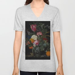 """Maria van Oosterwijck """"Roses, a parrot tulip, carnations, ears of wheat, hyacinths and other flowers Unisex V-Neck"""