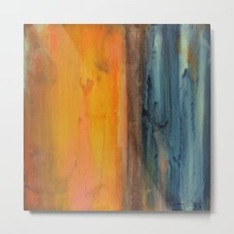 Blue and Orange - Textured Abstract Metal Print